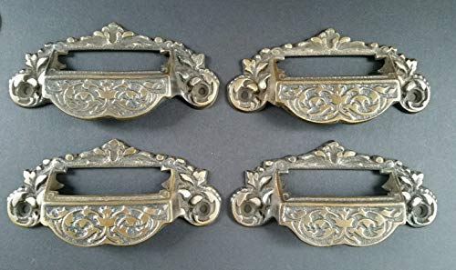 4 Victorian Antique Style Apothecary Bin Pull Handles w.Label Holder 4 3/4' #A7