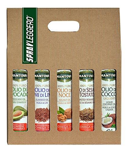 Confezione 5 x 200 ml spray nutraceutico: olio di Avocado, di Cocco, di Sesamo Tostato, di Noce e di Semi di Lino
