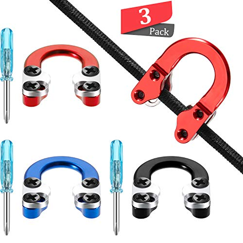 3 Sets Archery D Loop Compound Bow Metal D Loop Metal D Ring Buckle Release Nocking Loop with Screwdrivers for Hunting Accessories