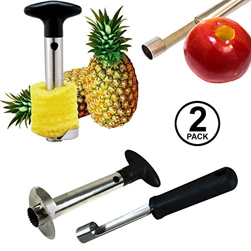 Pineapple Corer and Apple Corer - Pineapple Corer Slicer Peeler Stainless Steel , 3 in 1 Tool , Get a Set of 2 Items All Together!