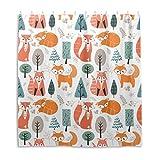Orediy Wasserdichte Duschvorhänge Füchse im Wald, 100prozent Polyester, Anti-Schimmel, Badvorhang mit 12 Haken für Badezimmer-Dekoration, 168 x 183 cm