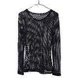Blouses 2017 - Camiseta de malla para mujer, estilo hipster, estilo vintage, gótico, informal, suelto, de verano, de malla, para camisetas