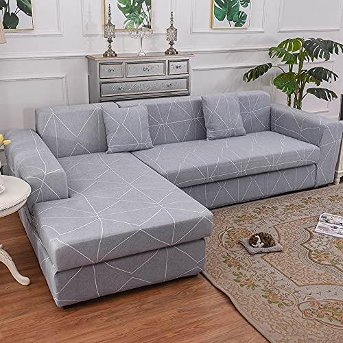 ASCV Stretchbezug Sektionale elastische Stretch-Sofabezug für Wohnzimmer Couchbezug L-förmiger Sesselbezug A21 4-Sitzer