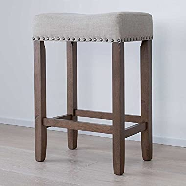 Nathan James 21303 Hylie Nailhead Wood Counter Kitchen Bar Stool, 24 , Light Brown