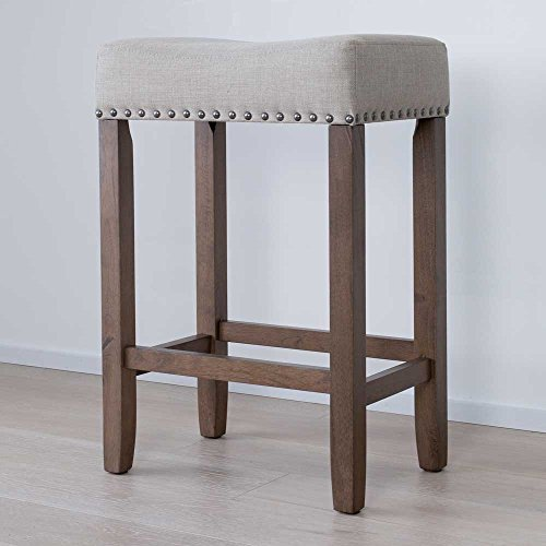 "Nathan James 21303 Hylie Nailhead Wood Counter Kitchen Bar Stool, 24"", Light Brown"