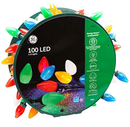 GE Energy Smart 100-Count 66-ft Cotant Warm White Multicolor C9 LED Plug-Insn Christmas String Lights Energy Star