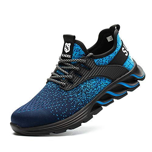 SUADEX Steel Toe Shoes for Men Women Safety Indestructible Work Shoes Lightweight Breathable Composite Toe Sneakers Blue