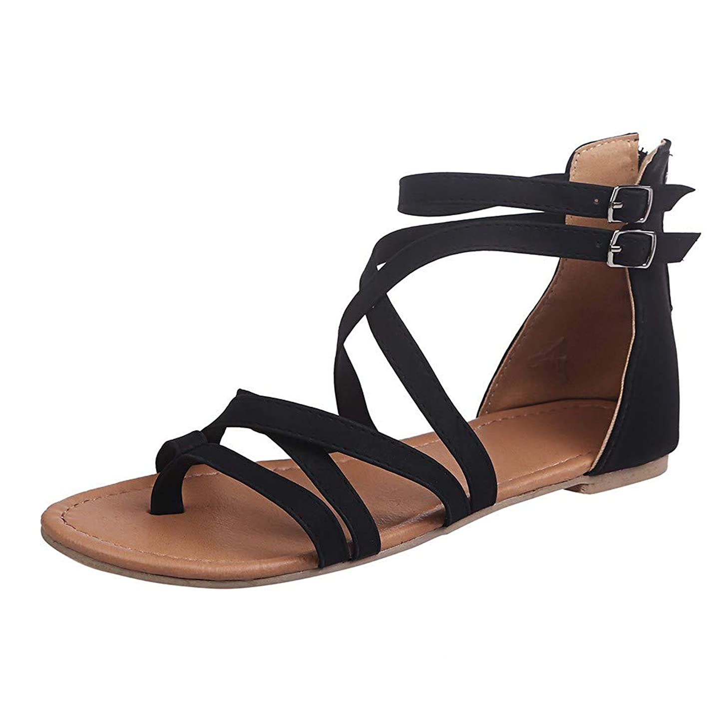 Claystyle Women's Casual Open Toe Strappy Beach Summer Flats Sandals
