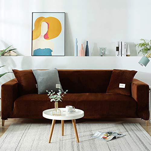 NSXBY Felpa Cubiertas De Sofá para 1 2 3 4 Cubierta De Sofá,Polvo-Prueba Terciopelo Elástico Soft Couch Cover,Ajuste Fácil Lavable,Cubierta De La Silla Recliner Mueble Protector De Sofá-