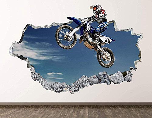 QULIN 3D Look Wandtattoo 3D Wandaufkleber Motocross Wandaufkleber Art Decor 3D Smashed Sprungaufkleber Poster Kinderzimmer Wandbild