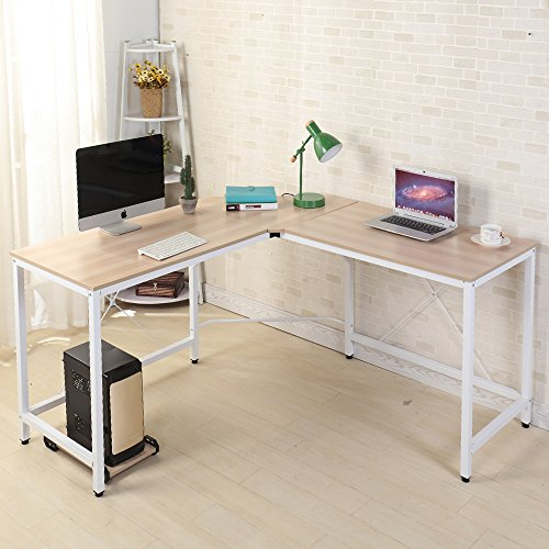 sogesfurniture Bureau Informatique Coin en Forme de L Table d'ordinateur en Bois, 150cm + 150cm...