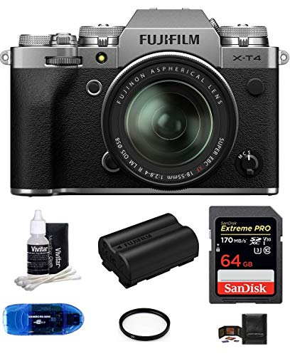 Fujifilm x-t4 mirrorless digital camera with xf 18-55mm f/2. 8-4 r lm ois lens (silver) bundle, includes: sandisk 64gb extreme pro sdxc memory card, spare fujifilm np-w235 battery + more (7 items)