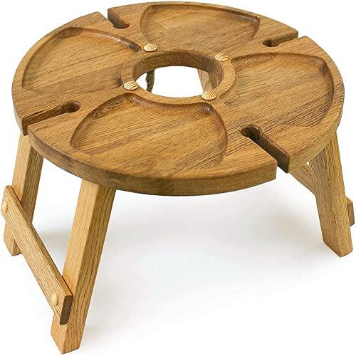 2021 Nuovo tavolo da picnic pieghevole da esterno in legno con supporto in vetro, tavolo da picnic portatile 2 in 1, tavolo da vino pieghevole da spiaggia creativo per esterni, giardino, viaggi