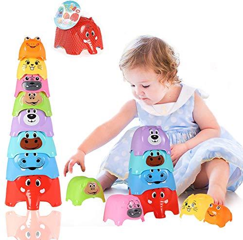 Herefun Tazza Impilabili, Tazza Impilabile per Bambini, Montessori Gioco Educativo Giocattoli Impilabili per Bambini, Impilabile Cubi Bambini per 6 + Mesi Primi Educativi Giochi