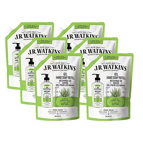 JR Watkins Gel Hand Soap Refill Pouch, Aloe and Green Tea, 6 Pack, Scented Liquid Hand Wash for Bathroom or Kitchen, USA Made and Cruelty Free, 34 fl oz (packaging may vary)