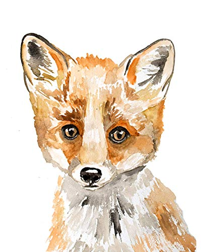 Watercolor Fox Art Print, Fox, Fox Art, Fox Nursery, Woodland Animals, Woodland Fox, Orange Fox, F is for Fox, Baby Fox, Baby Animal Prints