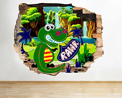 Pegatinas de pared Dinosaurs Colourful Nursery Smashed Wall Decal 3D Art Stickers Vinyl Room