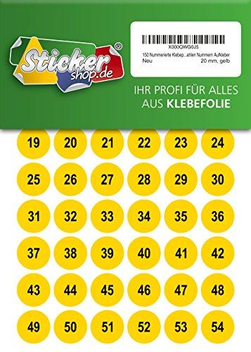 150 nummerierte Klebepunkte, 20 mm, gelb, aus PVC Folie, wetterfest, Markierungspunkte Kreise Punkte Zahlen Nummern Aufkleber