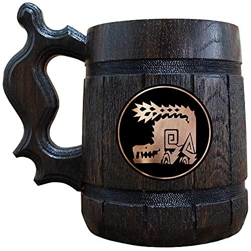 Monster Hunter Odogaron Wooden Beer Mug, MHW Beer Stein, Gamer Gift, Personalized Beer Stein, Monster Hunter World Tankard, Custom Gift for Men, Gift for Him