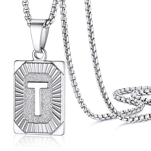 PROSTEEL C Necklace Men Stainless Steel Dogtag Pendant and Chain
