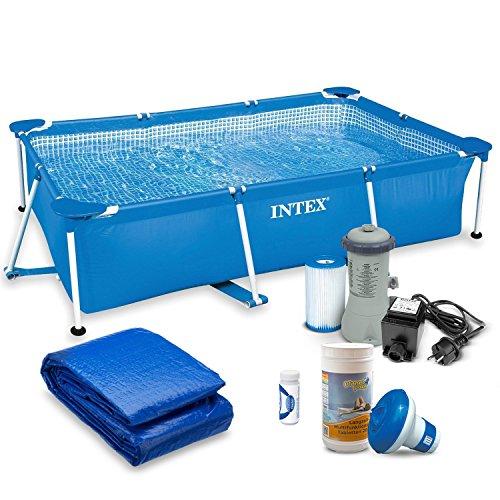 Global 7in1 Set Gartenpool 220 x 150 x 60 cm Frame Pool mit Filterpumpe und Zubehör INTEX 28270