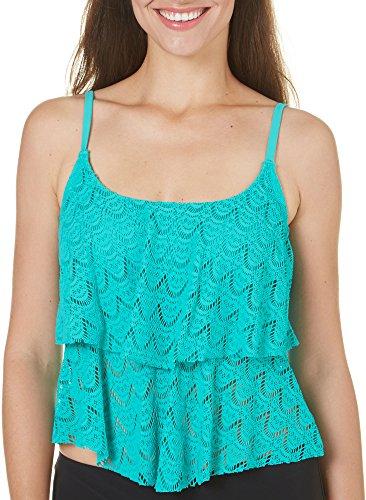 Ocean Avenue Women's Crochet Tiered Tankini, Sea Glass, L