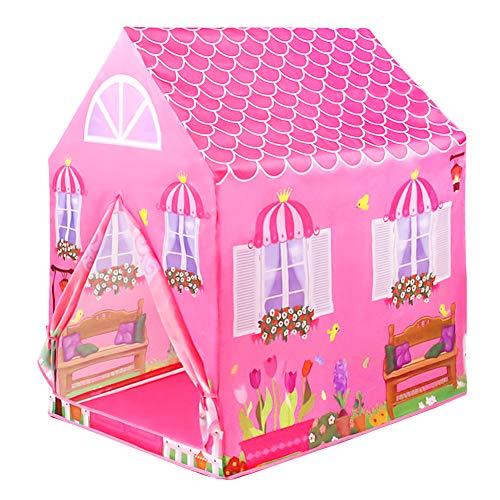 L.Y Casitas para Niños Tienda de Campaña Castillo Princesas Playa Carpa Jardin Plegable Regalos Cumpleaños Niños Niñas (Rosa)