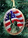 New York City Christmas Ornament - Statue of Liberty with American Flag - Christmas Tree Ornament from Christmas in New York Collection - Doublesided with Glitter