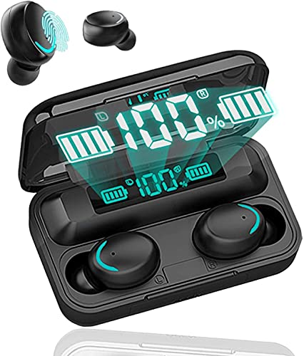Auriculares inalámbricos Bluetooth 5.0 con reducción de Ruido, Auriculares Deportivos con IPX7, Auriculares estéreo Impermeables en el oído Integrado HD Mic Auriculares para Android e iOS (Neg