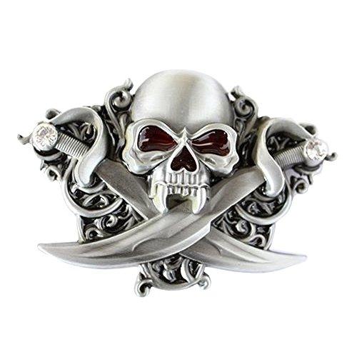 eeddoo® Gürtelschnalle - Piraten Skull mit Strasssteinen (Buckle für Wechselgürtel für Damen und Herren | Belt Frauen Männer Oldschool Rockabilly Metall Gothic Rock Biker Western Trucker Casino Skull)