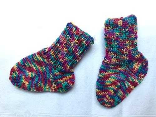 Handgestrickte Babysocken 10 cm bunt gemustert gelb pink türkis grün für Mädchen ca. 0-3 Monate, Socken für Neugeborene, Schuhgröße...