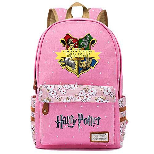 NYLY Harry Potter Blumenrucksack Hogwarts Rucksack, Jungen und Mädchen Mode Schultasche Notebook Tasche M (Rosa) Stil-7
