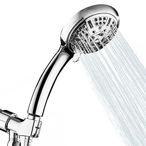 """9 Spray Modes High Pressure Shower Head with Handheld, 4.5"""" High Flow Hand Held Showerhead 66 High Pressure Nozzles Set with 59"""" 304 Stainless Steel Hose and Multi Angle Adjustable Shower Bracket"""