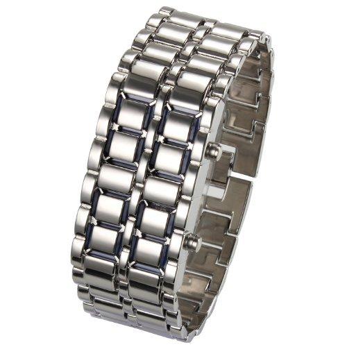 ZAJIWF Bracelet pour Femme, Bracelet Unisexe en Métal, Bracelet en Lave Volcanique LED (Argent),Gris