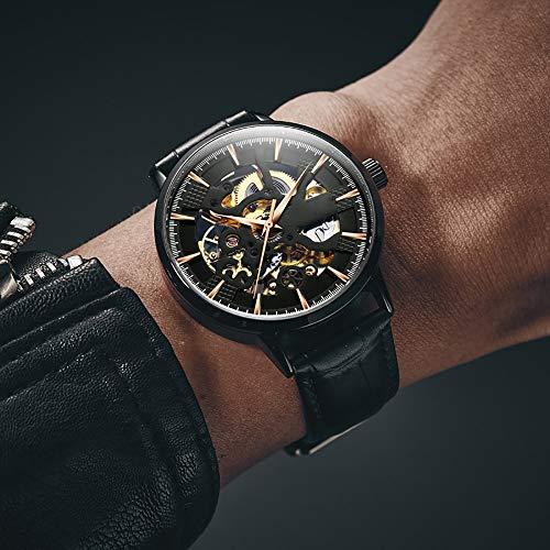 Voigoo Uhr-Herren Skeleton automatische mechanische Uhr Gold-Skelett Retro Männer Uhr Top-Marke Uhr der Männer