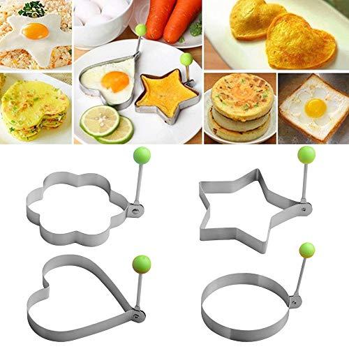 YUYDYU Kitchen Gadget Tool Set von 4 Eierring für Spiegeleier und pochierte Eier Crumpets Edelstahl Pfannkuchen Maker Antihaft Omelettes Muffinform Herz Blume Stern Runde Form