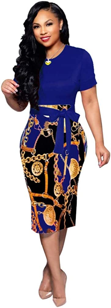 Women's Stretch Crew Neck Bodycon Dress Midi Work Casual Floral Prints Pencil Dresses with Belt