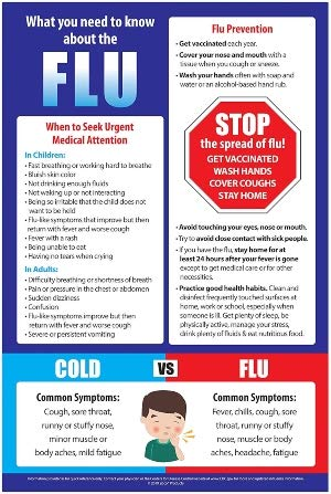 Flu Prevention Posters 10 Pack - Cold 2021 new School Charts N vs NEW