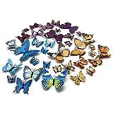 FUJIE 36 Pezzi Farfalle 3D Adesivi per Pareti 3 Colori Decorazione Casa Stickers Murali Ad...