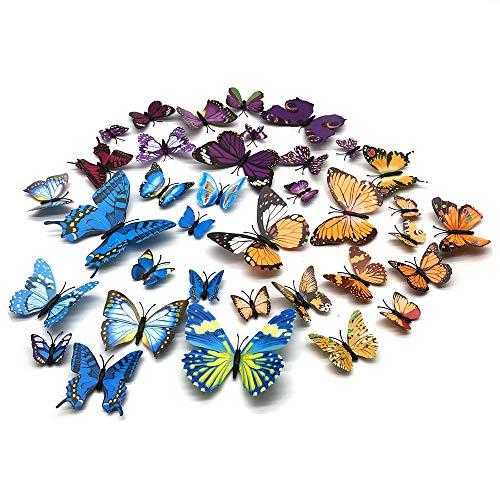 FUJIE 36 Pezzi Farfalle 3D Adesivi per Pareti 3 Colori Decorazione Casa Stickers Murali Adesivo Creativo (12 Blu, 12 Giallo, 12 porpora)