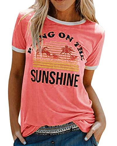 UMIPUBO Camiseta de manga corta para mujer con logotipo de corte ajustado, informal, 100 % algodón, camiseta de manga corta para verano, con logotipo de la Juventud Rosa M