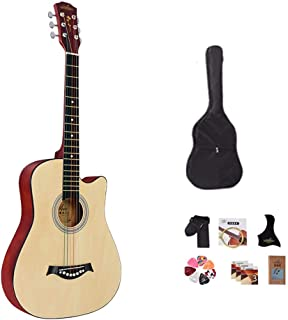 YJFENG Guitar, 38 Inch Spruce Exquisite Gift Package Original Guitar Backpack Strap Guitar Shield Full Set of Strings Pick...