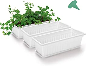 GROWNEER 3 Packs 17 Inches White Flower Window Box Plastic Planters with 15 Pcs Plant Labels, for Windowsill, Patio, Garden, Home Décor, Porch