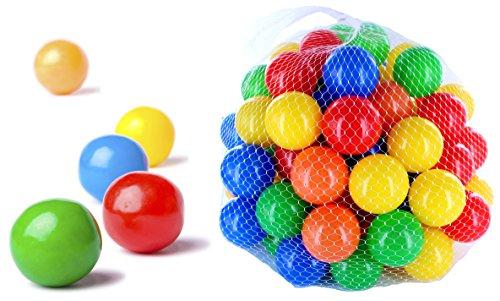 50 - 10000 de coloures pelotas de tenis para niños, bebés y los animales, 55 mm de diámetro para niños a partir de 0, color multicolor, tamaño 100 unidades