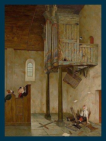 Bild mit Rahmen Marius van Dokkum - A capella - Holz blau, 30 x 40cm - Premiumqualität - , Karikatur, Kirche, alte Kirche, Orgel, Empore, morsch, Durchbruch, Absturz, Organist, Spa.. - MADE IN GERMANY - ART-GALERIE-SHOPde
