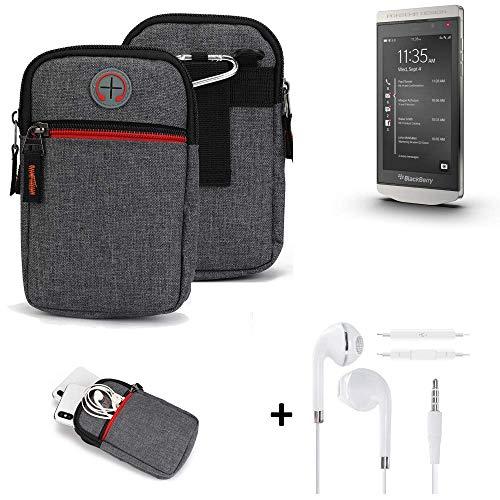 K-S-Trade® Gürtel-Tasche + Kopfhörer Für -BlackBerry Porsche Design P9982- Handy-Tasche Schutz-hülle Grau Zusatzfächer 1x