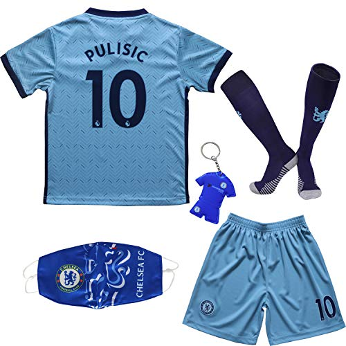 Necm 2020/2021 Chelsea Away #22 Christian PULISIC Soccer Kids Jersey Shorts Socks Set Youth Sizes (Away, 30)