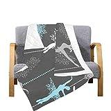 Enhusk Gesteppter Stuhl wirft Ballerinas Schneeflocken Retro Weihnachten Mikrofaser Quilt Wurfdecke 70x80 Zoll Mehrfarbig dekorativ für Bett Couch Sofa