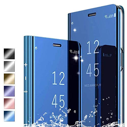 Hikissny Funda Samsung Galaxy S21 Ultra Cáscara, Ultra Delgado Inteligente Espejo Brillante Funda [Soporte Plegable] [Anti-Scratch] Flip Caso Clear View Case Cover para Samsung Galaxy S21 Ultra, Azul