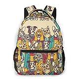 Lawenp Multitud de Mascotas Mochila Informal para Viajes Escolares al Aire Libre Bolso Grande de Moda para Estudiantes